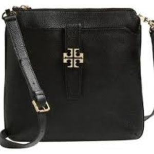 Tory Burch Plaque Black Leather Crossbody Bag